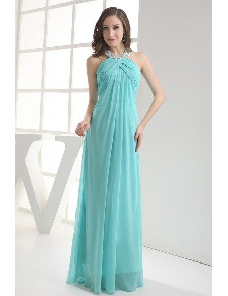 Sequined Long Halter Blue Chiffon Bridal Party Dress