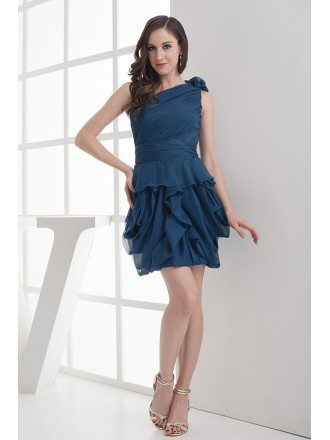 Ink Blue One Strap Ruffled Short Bridal Party Dress