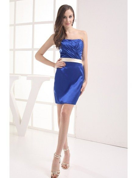 Royal Blue Satin Short Bridesmaid Dress