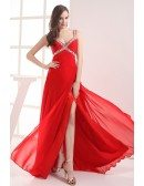 Classic Split Front Sequined Straps Red Prom Dress