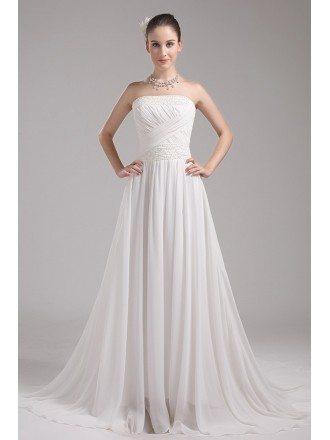 Beaded Ivory Aline Chiffon Long Beach Wedding Dress