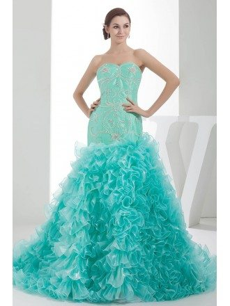 Jade Sequined Sweetheart Cascading Ruffles Color Wedding Dress
