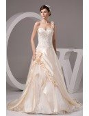 Champagne One Shoulder Embroidered Flowers Wedding Dress with Corset