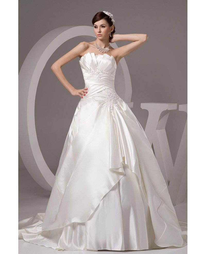Ivory Satin Pleated Ballgown Wedding Gown Custom With Lace Beading Oph1427 260 9 Gemgrace Com