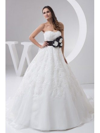 Handmade Flower Sash Lace Ballgown Wedding Dress with Color