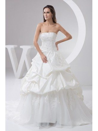 Strapless Satin and Tulle Ruffles Wedding Gown Custom