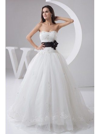 White with Black Sash Long Tulle Wedding Dress Embroidered