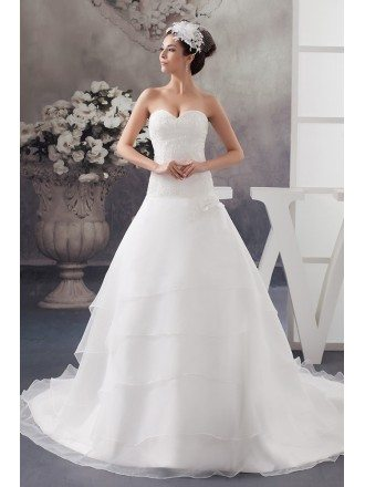 Sequined Lace Aline Tiered Organza Wedding Dress Sweetheart