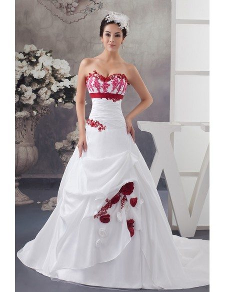 White And Red Flowers Taffeta Lace Color Wedding Dress Sweetheart Oph1479 260 9 Gemgrace