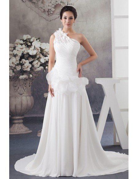 Floral One Shoulder Grecian Chiffon Beach Wedding Dress With Train