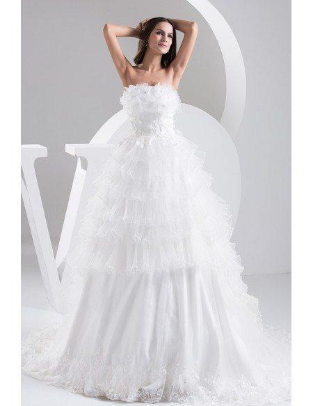 Strapless Tiered Organza Wedding Dress Custom
