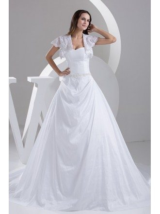 Traditional Taffeta Sweetheart Ballgown Wedding Dress with Lace Jacket