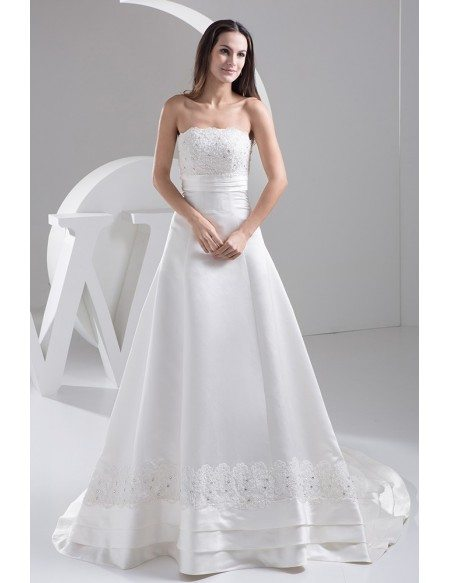 Special Satin With Lace A Line Wedding Dress With Layers Trim Oph1491 251 Gemgracecom