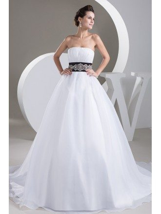 Ballgown Organza White with Black Wedding Dress with Bling