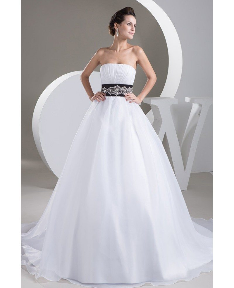 Strapless Ballgown Organza White With Black Wedding Dress With Bling Oph1496 242 9 Gemgrace Com