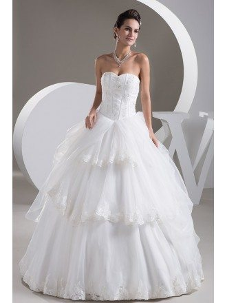 Ballgown Lace Tiered Tulle Sweetheart Wedding Gown
