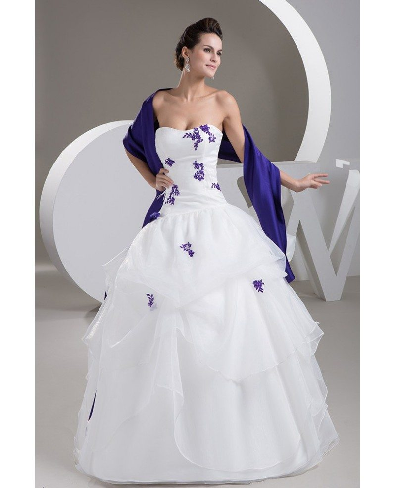 Purple Lace Ruffled Color Wedding Dress