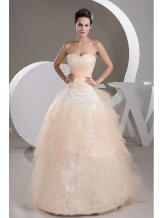 Sweetheart Orange Tulle Ballgown Wedding Dress