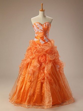 Orange Ballgown Sweetheart Lace Long Lace Dress