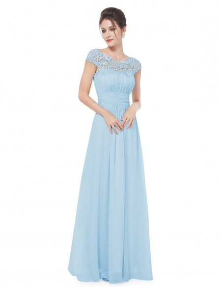 A-line Scoop Neck Lace Chiffon Floor-length Dress With Cap leeves