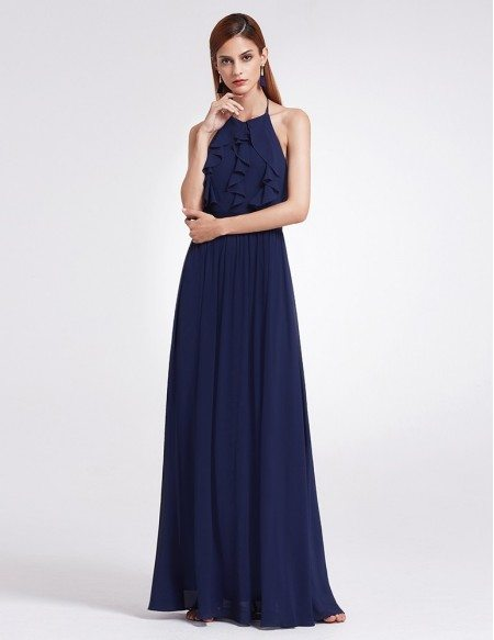 Elegant Long Halter Ruffles Adjustable Cheap Bridesmaid Dress