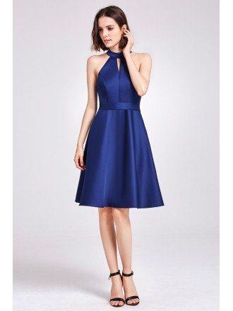 Short Knee Length Halter Cheap Bridesmaid Dress with Sash