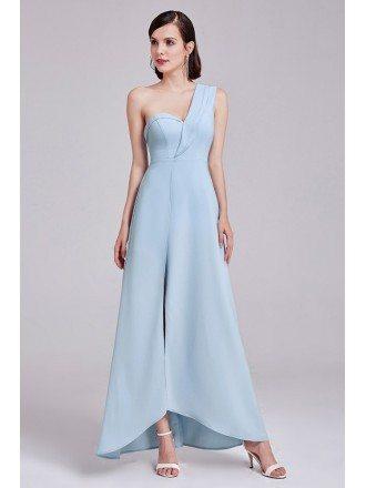 One Shoulder Sweetheart Long Blue Formal Dress with Slit
