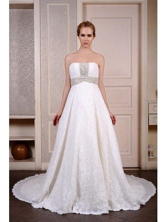 Ball-Gown Strapless Cathedral Train Lace Wedding Dress With Beading
