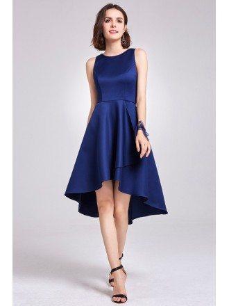 Blue Short Satin Pretty Sleeveless High Low Party Dress