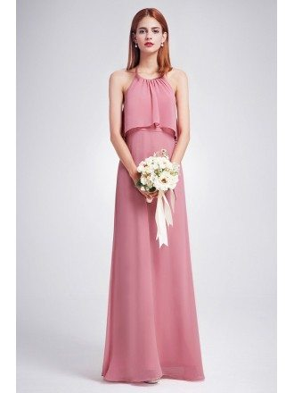 Trendy Dusty Rose Color Ruffle Spaghetti Strap Chiffon Bridesmaid Dress