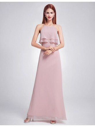 Mauve Ruffle Spaghetti Strap Long Cheap Bridesmaid Dress