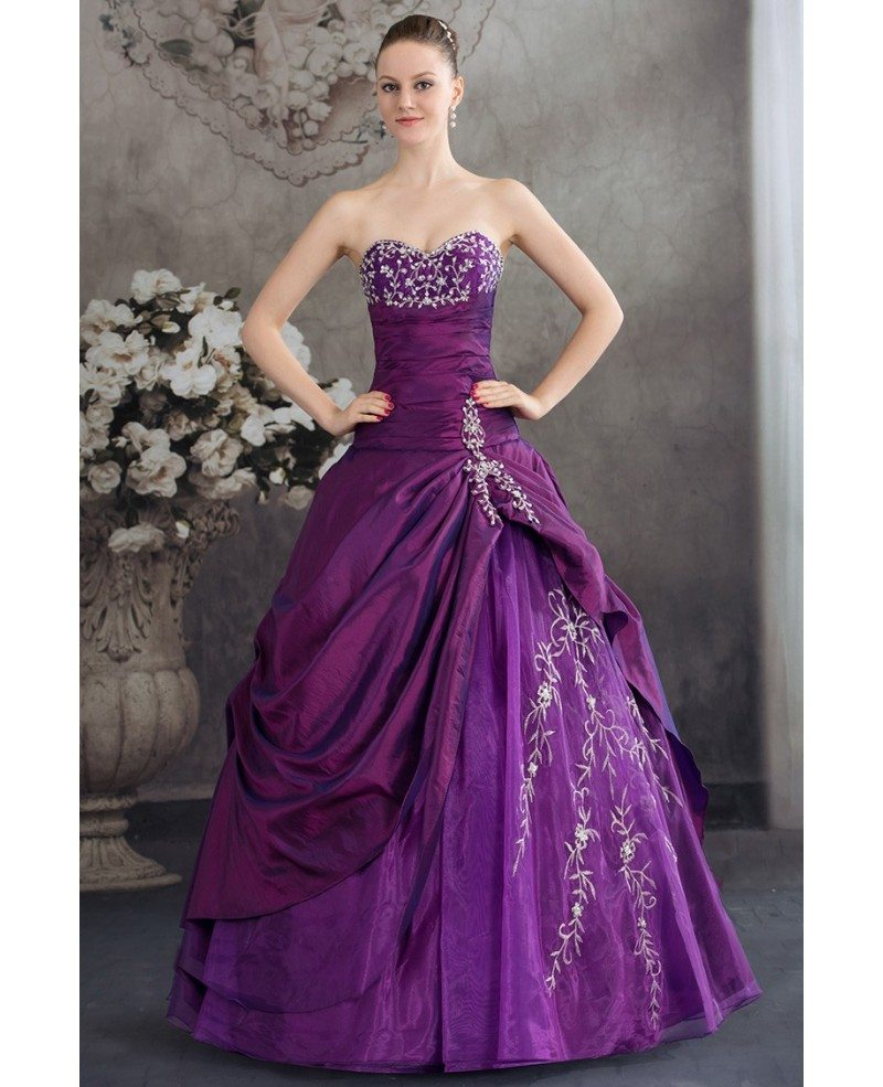 Color Wedding Gown: Purple Sweetheart Embroidered Taffeta Ballgown Color