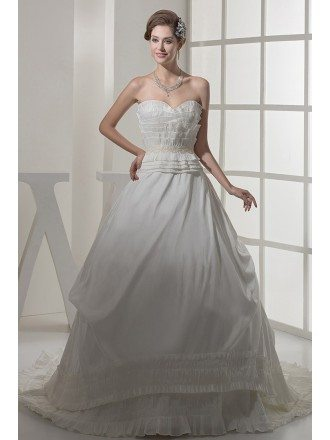 Special Pleated Trim Ballgown Wedding Dress with Pearl Beading