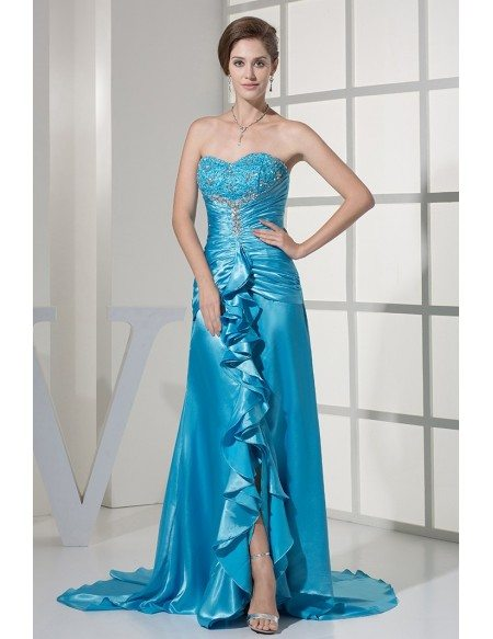 Ruffled Sweetheart Lace Beaded Long Blue Prom Dress with Split Scalloped Edges