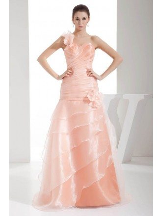 Pink Organza One Floral Strap Pleated Wedding Dress
