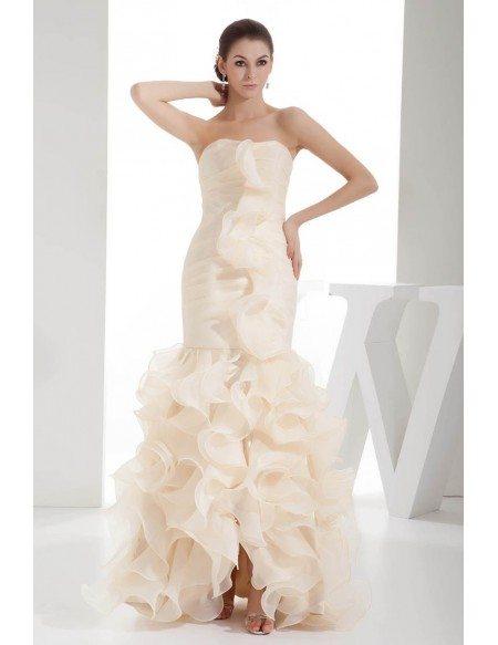 Champagne Ruffled Organza Fitted Formal Dress Custom