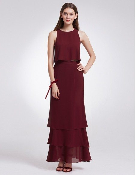 Two Piece Sleeveless Layered Long Cheap Bridesmaid Dress