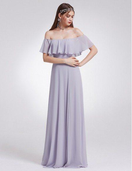 Dusty Lilac Elegant Ruffles High Split Beach Wedding Long Bridesmaid Dress Off Shoulder Ep07171 Gemgrace