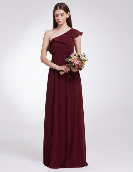 Chiffon Long One Shoulder Ruffles Oblique Neckline Cheap Bridesmaid Dress
