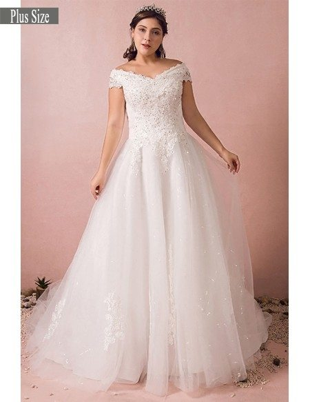 Plus Size Curvy Bride Off The Shoulder Wedding Dress Lace Long Train Mn8017 Gemgrace Com