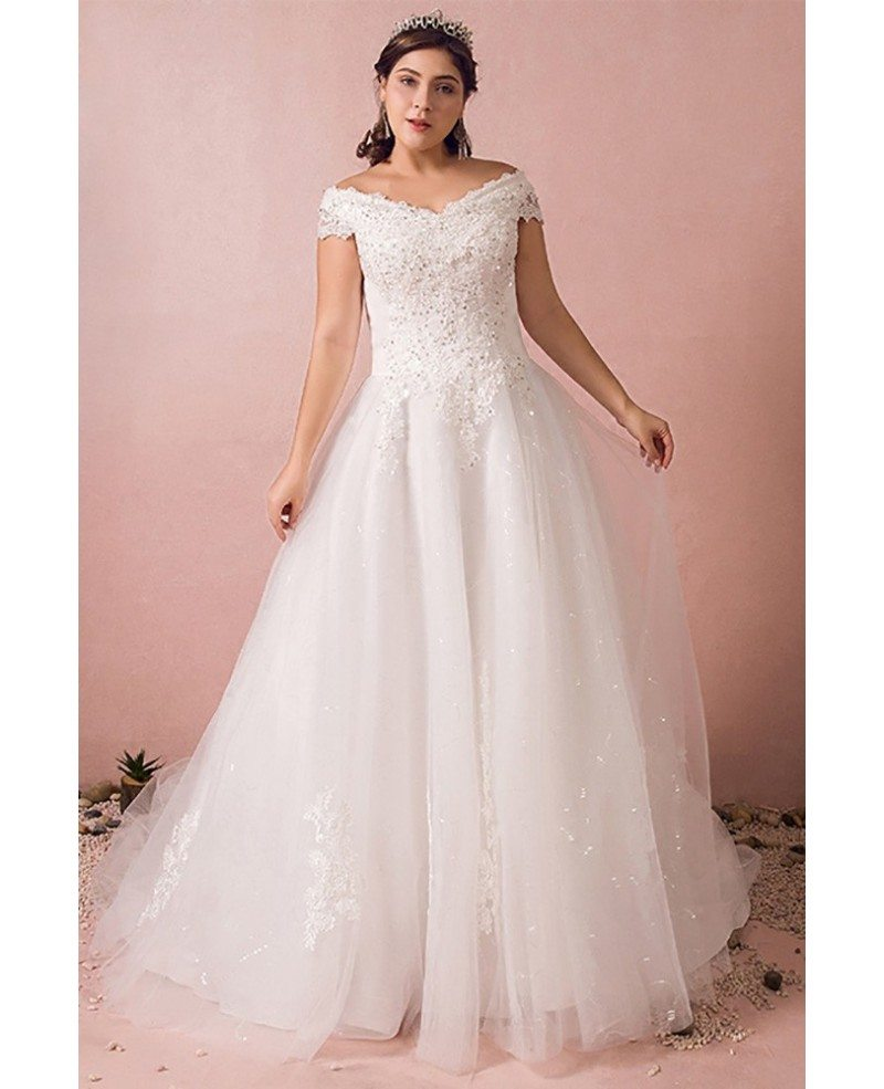 Plus Size Curvy Bride Off The Shoulder Wedding Dress Lace Long
