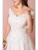 Plus Size Curvy Bride Off The Shoulder Wedding Dress Lace Long Train