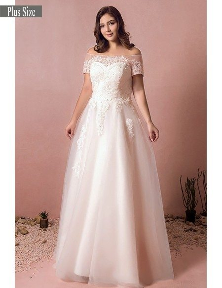 Boho Lace Off Shoulder Plus Size Wedding Dress Country A Line Wedding Dress  #MN8021 - GemGrace.com
