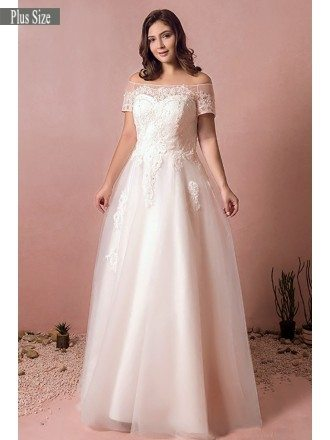 Boho Lace Off Shoulder Plus Size Wedding Dress Country A Line Wedding Dress