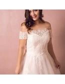 Boho Lace Off Shoulder Plus Size Wedding Dress Country A Line Wedding Dress