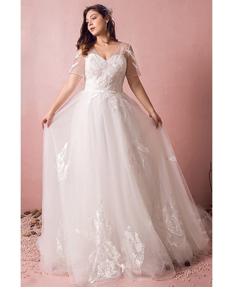 Plus Size Boho Beach Wedding Dress Flowy Lace With Sleeves Cheap Online  #MN8022 - GemGrace.com