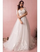 Plus Size Boho Beach Wedding Dress Flowy Lace With Sleeves Cheap Online