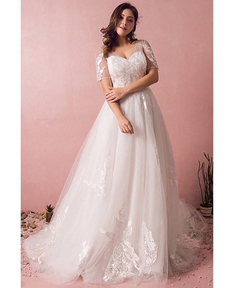 Plus Size Lace Wedding Dresses: Plus Size Boho Beach Wedding Dress Flowy Lace With Sleeves