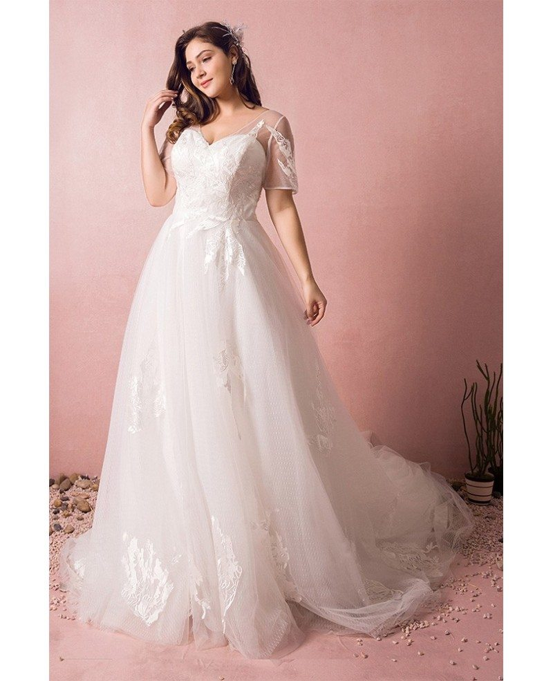 Plus Size Boho Beach Wedding Dress Flowy Lace With Sleeves Cheap Online  #MN8022 - GemGrace.com