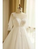 Plus Size Tulle Beach Wedding Dress Boho With Sleeves 2018